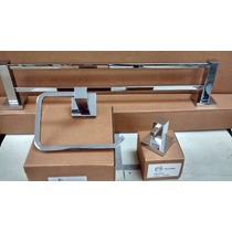Kit 3pç Lavabo Papeleira + Toalheiro Duplo+ Cabide Simples