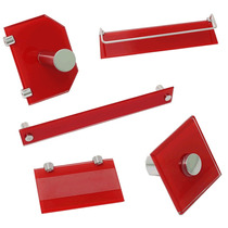 Kit Acessório 5 Peças Para Banheiro Reto Vidro 8mm Vermelho