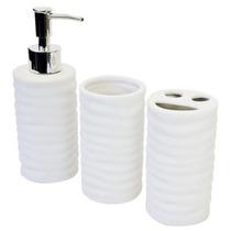 Jogo Para Lavabo De Porcelana Branca - Moderna Decorações