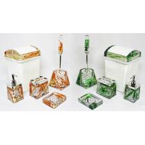 02 Kits Banheiro Acrílico C/ Porta Escova Sabonete Lixeira
