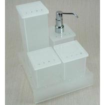 Kit Potes P/ Banheiro Em Acrílico Jateado C/ Strass +lixeira