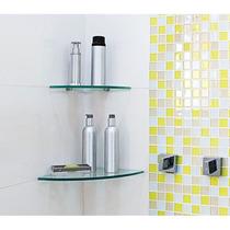 Prateleira De Vidro Modelo Canto Redondo 20cm Para Banheiro