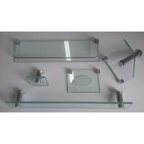 Acessório Banheiro Kit 5 Peças Em Vidro - Frete Gratis