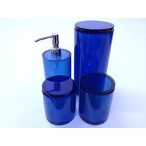 Conjunto De Potes Em Poliéster Azul Translúcido