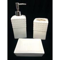 Kit De Pia Para Banheiro 3 Peças Cerâmica Decorado
