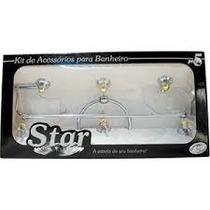 Kit De Acessórios Para Banheiro Star Cristal C/ 5 Peças