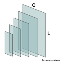 Vidro Para Balcão Modulado Temperado Incolor 4mm (40x40cm)