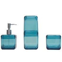 Conjunto Para Banheiro 3 Peças, Azul Cube Coza