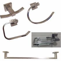 Kit 5 Pçs Luxo Acessórios Para Banheiro Metais Inox Setga