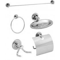 Kit Acessórios Para Banheiro Inox Com Porta Shampoo De Canto