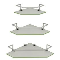 Prateleira De Canto Banheiro - Vidro Com Alumínio - 25cm