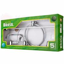 Kit Acessórios Banheiro Jogo C/ 5pçs Alumínio E Plastico Abs