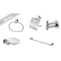 Kit Banheiro Acessórios Inox Luxo Meber Minimal 5pçs