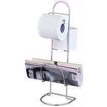 Suporte Rolo Papel Higiênico Nobre 2 Rolos De Chão Banheiro