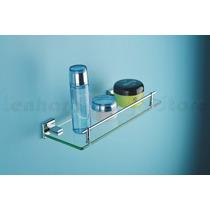 Porta Shampoo Em Metal Cromado Vidro 7mm Acabamento Quadrado
