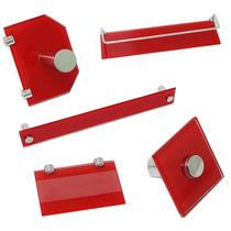 Porta Shampoo Vidro 8mm Temperado Lapidado E Polido Vermelho