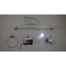 Kit De Acessorios Inox C/ Porta Shampoo De Canto R$69,90