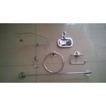 Kit Inox C/porta Shampoo Vidro