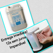 Kit Alcool Gel 70% Dispenser Saboneteira Automática Sensor