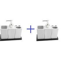 2 Conjuntos - Saboneteira Liquido - Porta Sabonete Porcelana