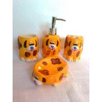Jogo Saboneteira Banheiro 4 Peças Cachorrinho Cão Porcelana