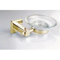 Porta Sabonete Metal Dourado Com Base De Vidro Acab Quadrado