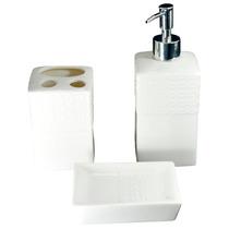 Kit Saboneteira Porta Escovas Porcelana Branco 3 Peças