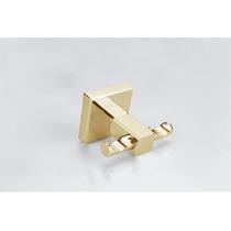 Porta Toalha Gancho Duplo Metal Dourado Acabamento Quadrado