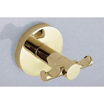 Porta Toalha Gancho Duplo Metal Dourado Acabamento Redondo