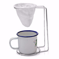Mini Coador Pano Café Individual + Refil + Caneca 60 Ml