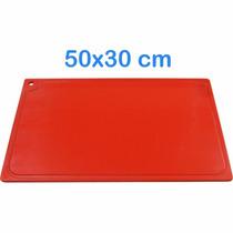 Tabua De Corte 50 X 30cm Em Polietileno Vermelho Para Carnes