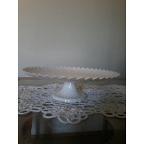 Prato Para Bolo Com Pedestal Plástico Branco 32 X 10 Cm