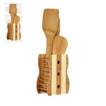 Kit Talheres Bambú = 2colheres + 1garf + 1espatula + 1suport