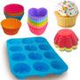 Kit Formas Silicone Para Cupcake Muffins Com 37 Unidades