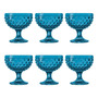 Conjunto De Taças Para Sobremesa Safira Em Vidro - 11x11 Cm