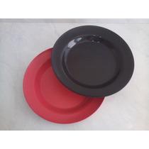 Kit 25pçs Prato Redondo Plastico Rígido/duro 23,5cm X 2,5cm