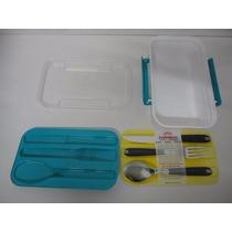 Marmita Marmibox Com Porta Talheres Microondas, Banho Maria