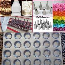 Forma Mini Cupcake 24 Cavidades+bicos P/ Confeitar Kit 24 Pç