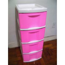 Gaveteiro Gigante Plástico Rosa E Branco 4 Gavetas Grandes