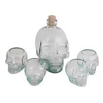 Garrafa + 4 Copos Caveira - Cranios Ossos Vasos Bebidas Gim