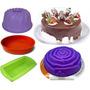 Kit Formas Silicone Para Bolo Torta Pudim Pão Com 4 Formas
