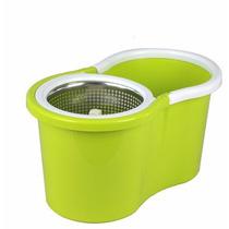 Balde Spin Mop 360 Inox Rodo Mágico Centrífuga Verde