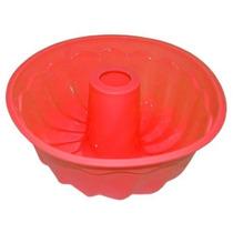 Forma De Silicone Redonda Decorada Para Pudim Com Furo 22cm