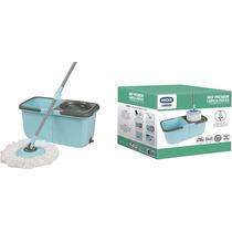 Spin Mop Limpeza Prática Mor C/ Cesto Inox + 2 Refis