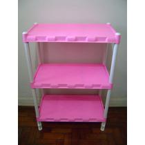 Estante Desmontável Plástica Rosa 3 Prateleiras Produto Novo