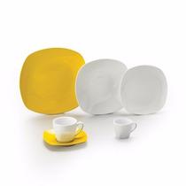 Jogo De Jantar De Porcelana Amarelo Quadrado 42 Peças