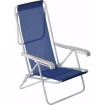 Cadeira De Praia Reclinável Aço 8 Posições Sannet Azul Mor