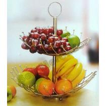 Fruteira De Aço Inox Com 2 Bandejas Para Centro Mesa E Fruta