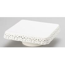 Prato Para Doces Rendado Bon Gourmet Porcelana Branca 25x25c
