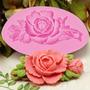 Molde De Silicone Rosa Com Folhas - Para Confeitaria